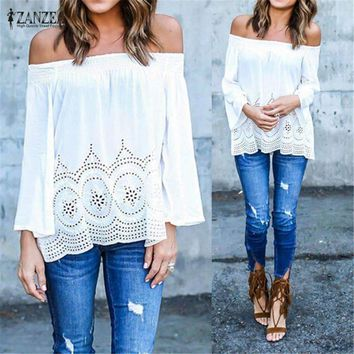 ZANZEA Sexy Off Shoulder Women Blouse 2018 Casual Elastic Slash Neck Strapless Crochet Hollow Out Tops Shirts Plus Size Blusas