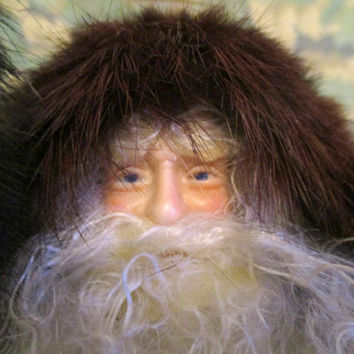 Vintage Santa Claus Doll Heirloom with Genuine Fur and Feathers Figure Father Christmas Decoration Collectible Signed Darling Junkin 1996