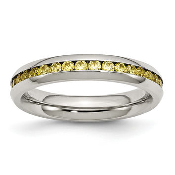 Stainless Steel 4mm November Yellow CZ Ring