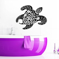 Wall Decal Turtle Sea Turtle Ocean Turtle Nautical Vinyl Sticker Decals Bathroom Home Decor Art Design Interior NS418