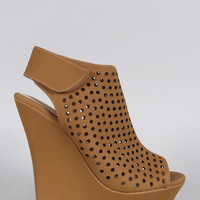 Bamboo Nubuck Perforated Peep Toe Wedge