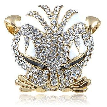 Alilang Exotic Brilliant White Crystal Head Clear Rhinestone Wild Cat Kitty Adj Ring