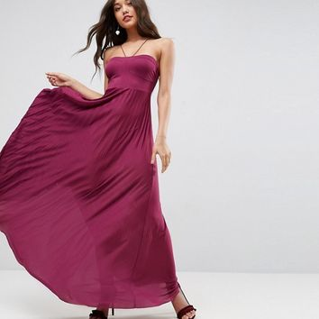 ASOS Pleated Maxi With Strappy Neck Dress at asos.com