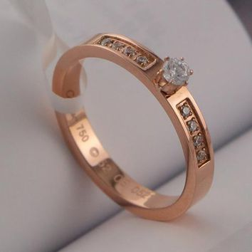 8DESS Cartier Women Fashion Diamonds Plated Ring
