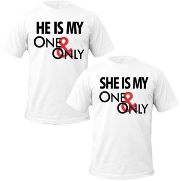she\he is mine one & only Couple Tshirts