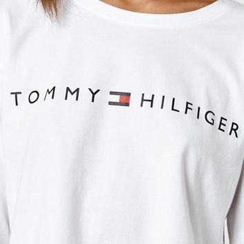 Tommy Hilfiger Logo Cropped Long Sleeve T-Shirt at PacSun.com
