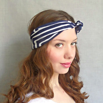Printed Headwrap Blue Tie Headscarf Geometric Striped Headband Womens Hair Accessories