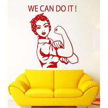 Vinyl Wall Decal Pin Up Style Girl Worker Motivation Quote Stickers (2641ig)