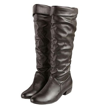 Knee high Women Boots Black White Brown flat heels half boots spring autumn shoes woman