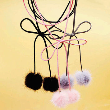 2016 Fashion Black Grey Pink Fur Ball Pom Pom Chocker Multilayer Suede Ribbon Bow Womens Sexy Velvet Chokers Collar Necklace