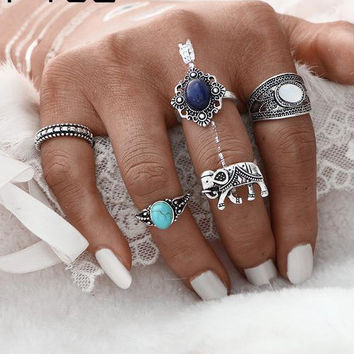 5PCs/Set Vintage Artificial Stone Turkish Ring Sets Elephant Midi Ring for Women 2017 Fashion Antique Stone Men Rings  0527