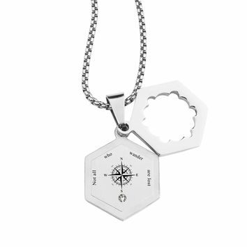 Life Compass Double Hexagram Necklace with Cubic Zirconia by Pink Box - NOT ALL WHO WANDER
