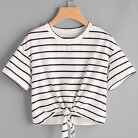 Drop Shoulder Tie Front Striped Crop Tee -SheIn(Sheinside)