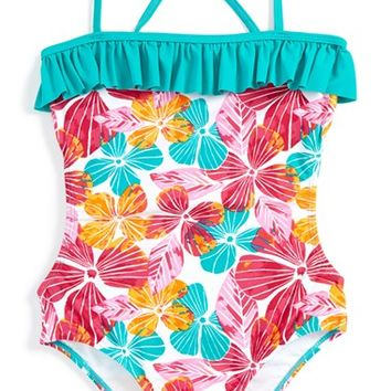 Girl's Roxy Floral Print One-Piece Swimsuit,