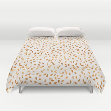 Duvet Cover Set - 4 different sizes, Without Insert, Bedroom, Home decor, With or Without Shams, Romantic, Gold, White, Pattern, Leaves