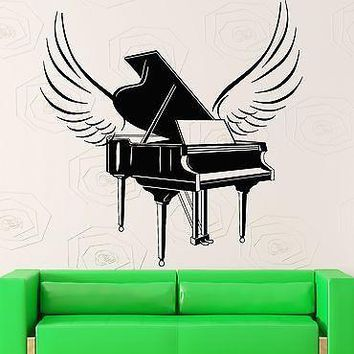 Wall Stickers Piano Music Musical Instrument Wings Vinyl Decal Unique Gift (ig2366)