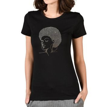 TeezCrew Melanin Afro American Girl Rhinestone Transfers Cotton Crew Neck T Shirt For Women