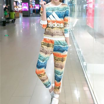"""""""Adidas"""" Fashion Casual Multicolor Feather Letter Print Long Sleeve Sweater Set Two-Pi"""