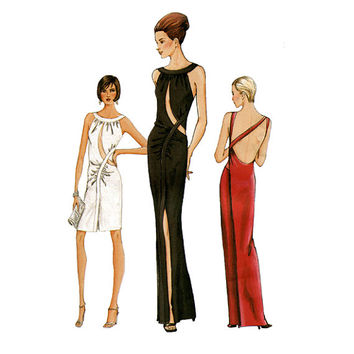 Vogue 7436 VERY SEXY EVENING Gown Cocktail Dress Pattern High Slit Maxi Dress Mock Wrap Side Womens Sewing Patterns Size 14 16 18 UNCuT