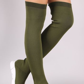 Bamboo Stretched Knit Over-The-Knee Sneaker Boots