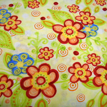Flowered Print Fabric, 100% Cotton Fabric, 1/2 Yard, Quilting Supplies, Sewing Notions, Polka Dot Garden, DIY Projects, Yellow, Orange