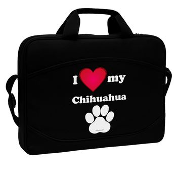 """I Heart My Chihuahua 15"""" Dark Laptop / Tablet Case Bag by TooLoud"""