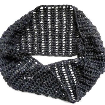 Grey Scarf Reversible Infinity Collar Neckwarmer Cowl Wrap Women Accessory Lacy Cozy Warm Soft Handmade Crochet Niatta