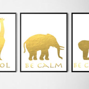 Three Animal Gold Faux Foil Matte Art Prints- Giraffe, Elephant, Gorilla/Monkey -Office & Home Decor - Cool, Calm, Curious- Silhouettes