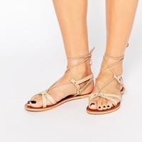 ASOS FONDA Leather Lace Up Flat Sandals