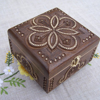 Jewelry box Ring box Wooden box Carved wood box by HappyFlying