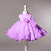 Baby girl dress Flower baby Christening dresses bow girl party dress kids clothes children dress