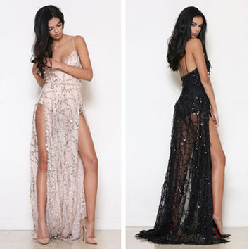 Fashion Perspective Gauze Embroidery Sequin Deep V Backless Split Maxi Dress
