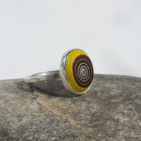 Sterling silver and corvette fordite ring