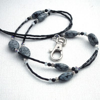 Snowflake Obsidian Beaded ID Badge Lanyard Crystals, Silver