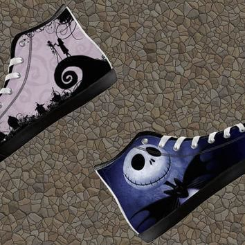 Jack Skellington Nightmare Before Christmas Custom Canvas Halloween High Top Shoes not