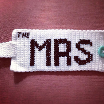 "Tea & Coffee Mug ""The Mrs"" Retro Mug Cozy - Bridal Gift Cup Cozy - Wedding Accessory Teacup Kitchen Accessory"