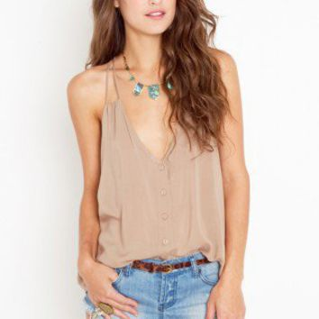 Button Up Tank - Sand - NASTY GAL