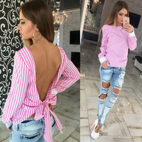 Cute Women Blouse 2016 Fashion White Striped Open Back Sexy tops Long Sleeve Shirt Women Summer Clothes Free shipping plus size