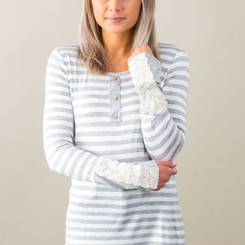 Heaven's Touch Striped Top-Heather Grey