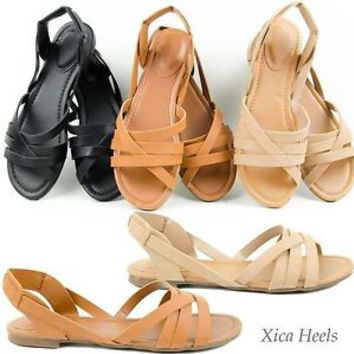 Womens D'orsay Huarache Flats Open Toe Sandal Shoe Tan Black or Natural  6-11
