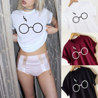 Fashion Tide All-match Casual Glasses Frames Print Round Neck Short Sleeve T-shirt Tops