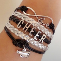 Infinity love Bracelet, Cheer Bracelet, cheerleader gift, cheerleading gift Antique silver Charm, Gray black wax cords and Braided leather,