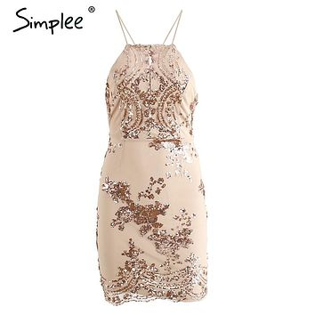Simplee Halter sequin mesh bodycon dress Women hollow out backless sexy dress robe Summer slim party club dress vestidos