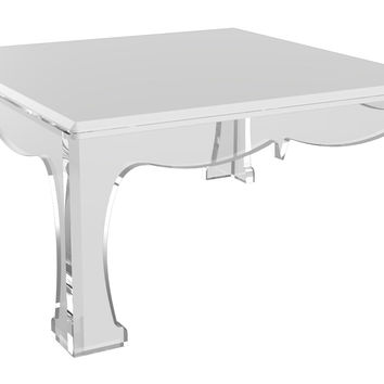"Ellie 32"" Cocktail Table, White/Clear, Acrylic / Lucite, Coffee Table Base, Sofa Table"
