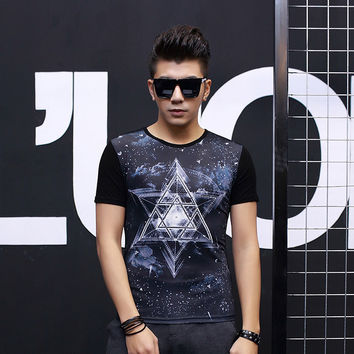 Strong Character Print Stylish Men's Short Sleeve Fashion Round-neck Men's Fashion T-shirts = 6450156995