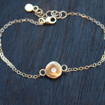 Gold diamond bracelet. 14k gold bracelet with genuine diamond. Minimalist gold bracelet. Gold chain bracelet with gold nugget and diamond.