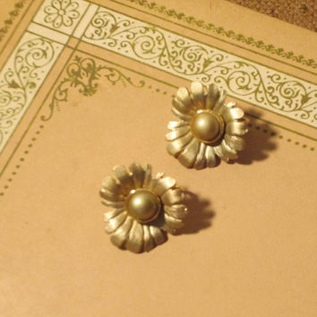 60s Satin Gold Earrings Pearl Flower Cocktail Clip On Bridal Accessories Vintage Jewelry - FREE SHIPPING