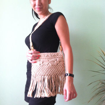 Beige Macrame Bag, Fringed Pocketbook, Tribal Cotton Pouch, Hand Woven Tote, Bohemian Know Purse, Braided Rope Bag, Crochet Summer Beach Bag