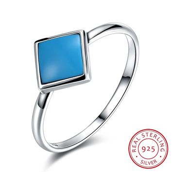 925 Sterling Silver Ring Retro turquoise ring square shape simple sterling silver ring
