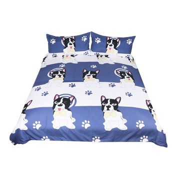 BeddingOutlet Bulldog Bedding Set Kids Cartoon Bed Set King Bow Tie Dog Blue and White Duvet Cover Animal Pug Printed Bedclothes
